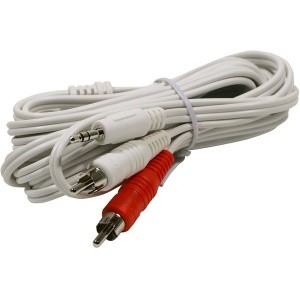 "6 ft white 3.5mm stereo male to 2 RCA male ""Y\"" cable"