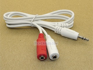 "2 ft white 3.5mm 1/8"" headphone mini jack splitter \""Y\"" cable"