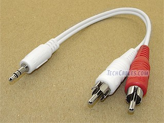 "6 inch white 3.5mm stereo male to 2 RCA male ""Y\"" cable"
