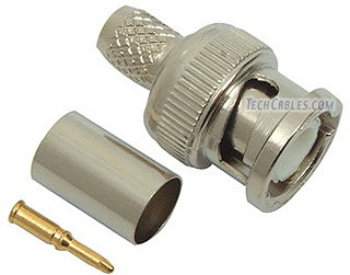 BNC male 3-pc crimp RG59 coax connector