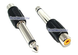 "RCA female to 1/4"" male monaural audio adapter"
